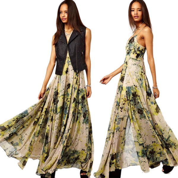 High Street Dresses New Fashion 2013 Summer Innovative Items Irregular Strap Print Sophisticated Dress Long Chiffon  WQZ9409-in Dresses from Apparel  Accessories on Aliexpress.com $65.99
