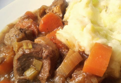 Hairy Dieters - guiness beef stew and mash potatoes