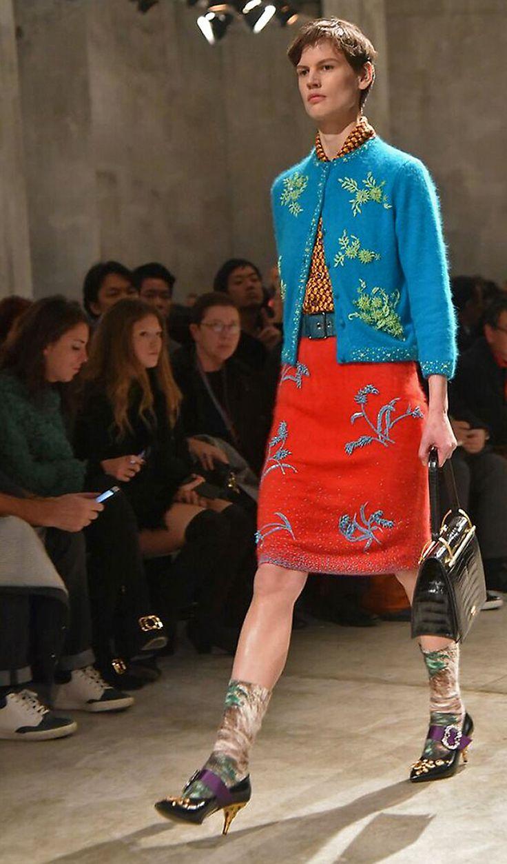 Saskia de Brauw at the runway for Prada Fall 2017 menswear.