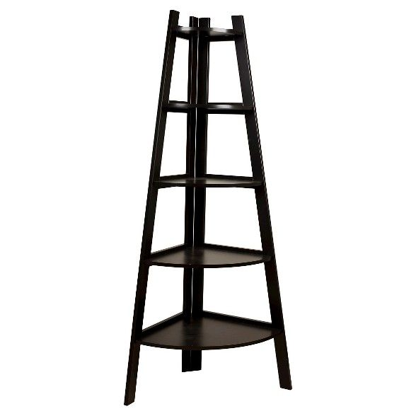 63 X 26 5 Five Tier Corner Ladder Shelf Brown Danya B Corner