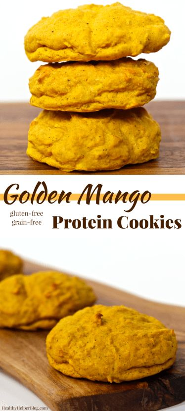 Golden Mango Protein Cookies   @Healthy_Helper Sweetly spiced, soft baked cookies that combine delicious mango flavor with superfood Turmeric! High in protein from beans, gluten-and grain-free, and easy to make...these cookies will be your new favorite way to enjoy the spice of the moment!
