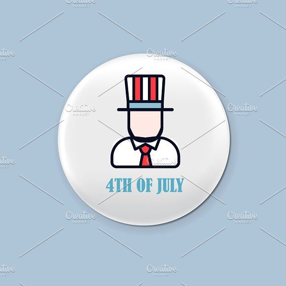 Steel round badge set. Patriotic brooch. 4th of july. Independence Day of America. Realistic mockup. Graphics Steel round badge set. Patriotic brooch. 4th of july. Independence Day of America. Realistic mockup by Di Bronzino
