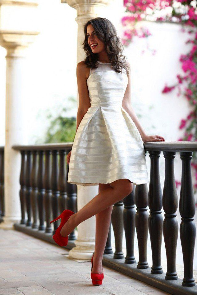 White #plated #midi dress, red heels. #women fashion outfit clothing style apparel @roressclothes closet ideas