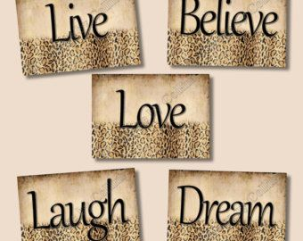 Leopard Cheetah Prints Wall Art Decor by collagebycollins on Etsy