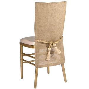 Burlap with Rope Accent - A simple silhouette of natural and earthy elements make this a perfect chair sleeve for a rustic and outdoor look.