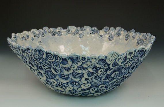 Ceramic Textured Salad Bowl