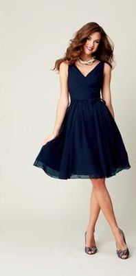 Navy Blue Bridesmaids Dress. Would look lovely with the orange flowers.