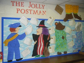 Lovely display inspired by The Jolly Postman, St Paul's C.E. Primary School, West Midlands