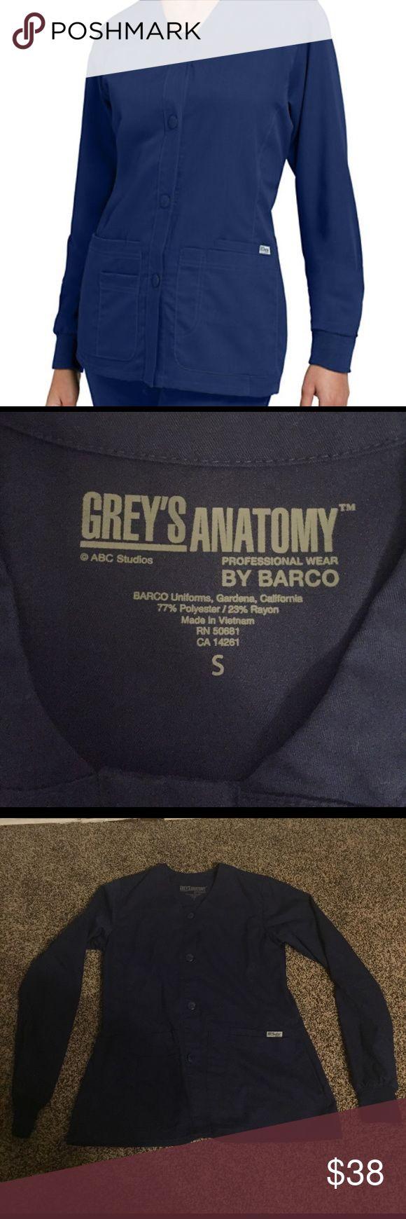 Greys anatomy 4 pocket scrub jacket Greys anatomy 4 pocket front V neck scrub jacket in navy blue perfect condition !!! greys anatomy Other