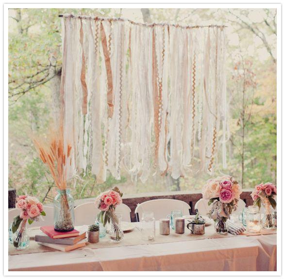 Shabby Chic Wedding Table Decorations: Ribbon And Lace Backdrop - Shabby Chic Wedding