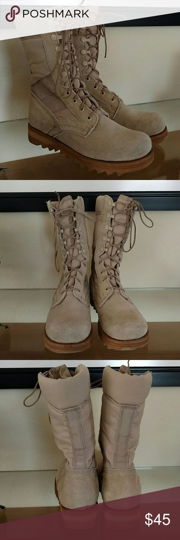 Army desert boots 9 Army desert combat boots. Men size 6R but fits women US 9. Good condition, some dry mud on the sole but easy to clean. Shoes Combat & Moto Boots