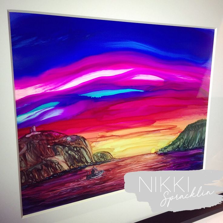 "11""x14"" print of original art alcohol ink yupo, abstract art, Newfoundland, contemporary art, sunrise, fishing, Catching the morning light by NikkiSpracklin on Etsy https://www.etsy.com/ca/listing/592547562/11x14-print-of-original-art-alcohol-ink"