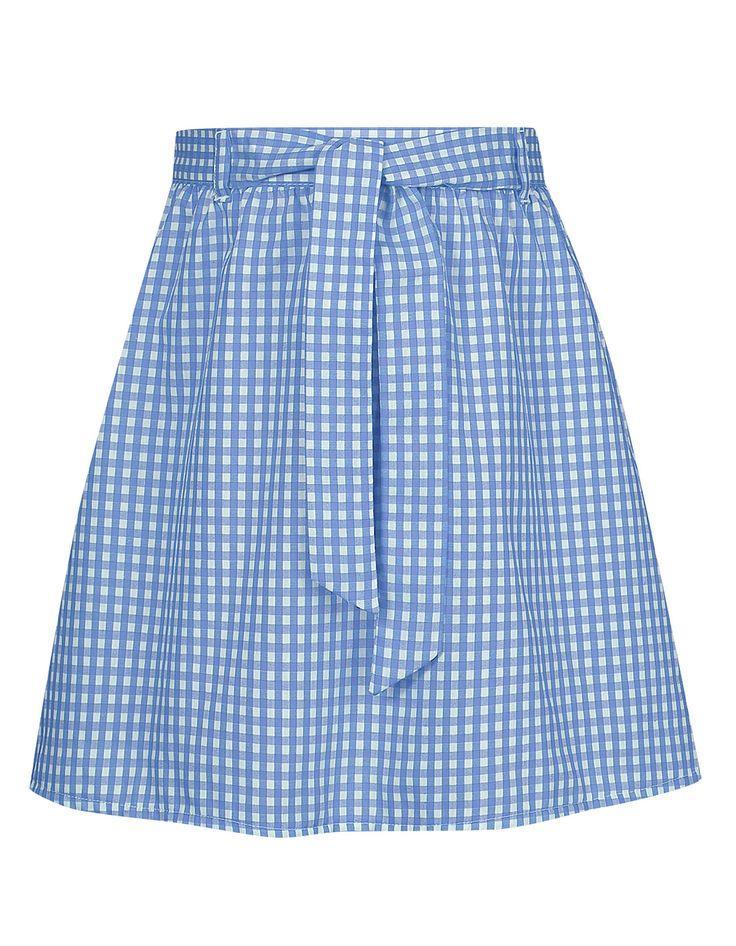 Belted Gingham Skirt – Blue | School | George at ASDA