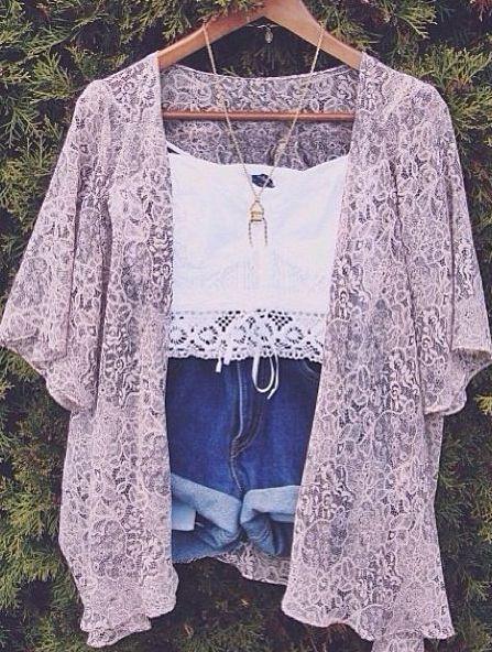 Cute music festival outfit. kimono. denim high waisted shorts. lace white crochet crop top.