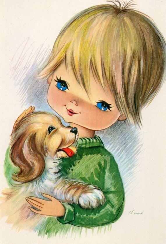 Vintage postcard  70s big blue eyed boy & a by CuteEyeCatchers