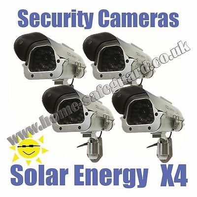 #Dummy 4 x  security camera - #solar powered - #rings of red led lights,  View more on the LINK: 	http://www.zeppy.io/product/gb/2/112255110564/