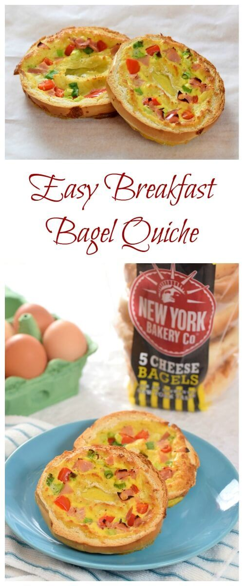 Easy breakfast bagel quiche - a yummy healthy breakfast idea that also makes great lunch box food - Eats Amazing UK