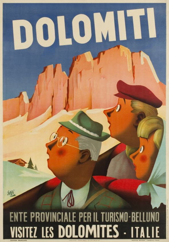 1949 Visit the Dolomite Mountains, Italy vintage travel poster