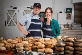 Chris and Ellen MacGregor, of Beam Me Up Bagels, with their latest batch ahead of the Dunedin Craft Beer and Food Festival held at Forsyth Barr Stadium, Dunedin, New Zealand. - Buy this print | Box of Light - Surf + Lifestyle + Mountains