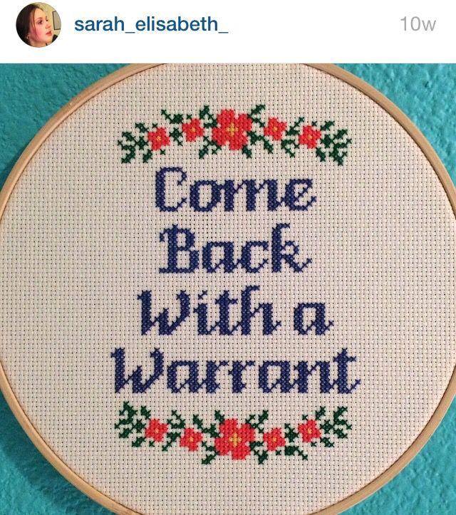 Warrant cross stitch