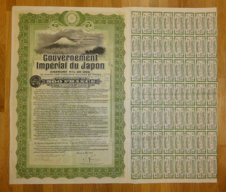 Gouvernement Imperial du Japon 4% von 1910 - Obligation de 500 Francs, SERIE 1