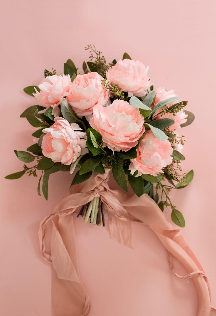 Diy paper flower wreath ruffled - Ruffled Blush Paper Peony Bouquet