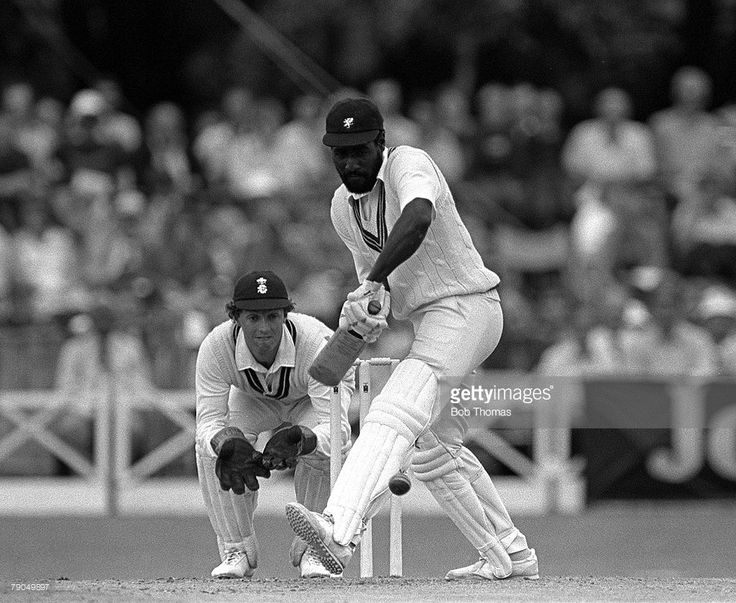 Cricket, 20th June 1982, John Player League, Somerset v Surrey, A picture of the legendary West Indian and Somerset batsman Viv Richards playing a forward defensive shot