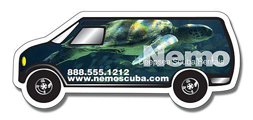 5.25x2.25 Custom Van Shape Magnets 20 Mil - Car / Van Vehicle Shaped Magnets - Custom Shaped Magnets