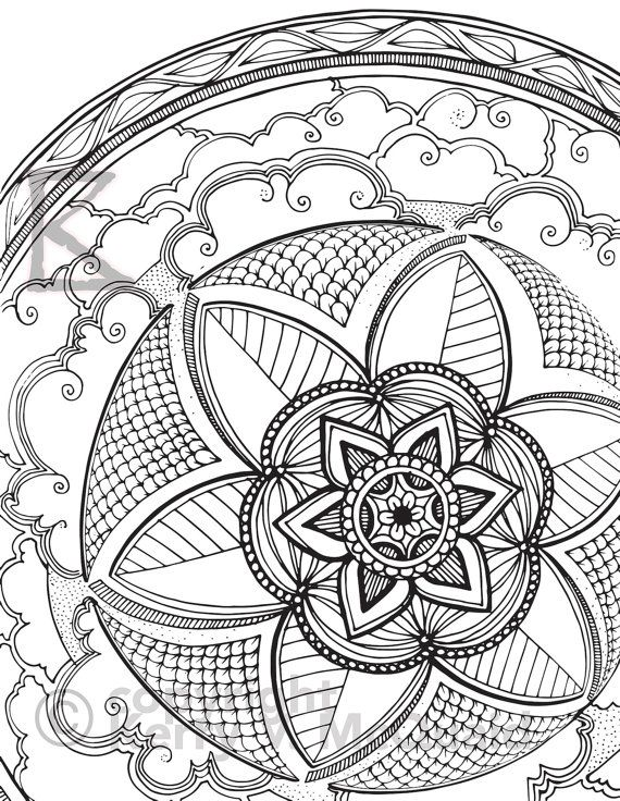 Cloud Flower Page Instant PDF Download Coloring Hand Drawn Zendoodle Doodle