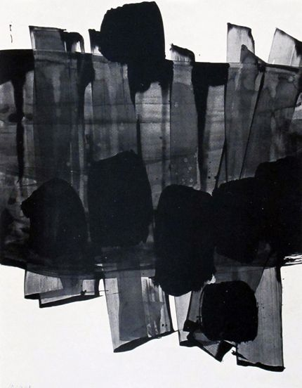 Pierre Soulages makes me think of transparent chiffon or organza strips with…