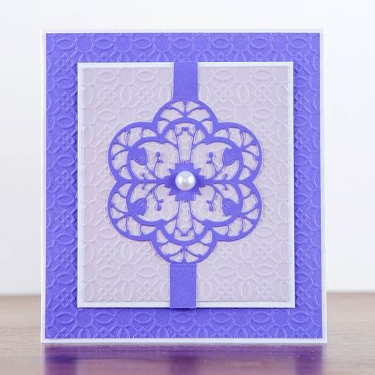 Simple yet elegant. This card design was made from the stunning Flower Burst Collection! Shop now: http://www.createandcraft.tv/papercraft/dies+and+storage/dies/couture+collection--flower+burst.aspx?icn=Flower_Burst&ici=Couture_Flower_Burst #papercraft #cardmaking