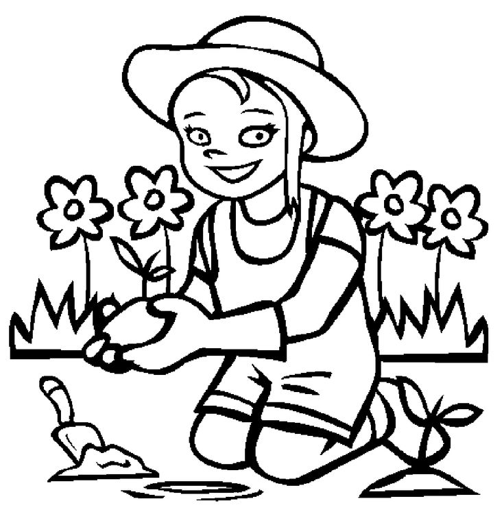 Girl Planting Flowers In The Garden Coloring Pages For Kids Printable Gardening