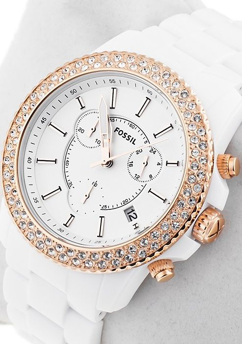 fossil ladies white and rose gold chronograph watch ch2716 accessories pinterest lady. Black Bedroom Furniture Sets. Home Design Ideas