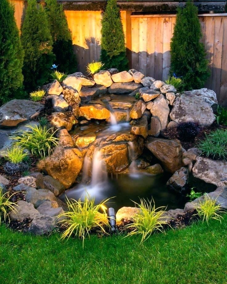 Small Pond Waterfall Ideas Backyard Design With Pond Waterfall And
