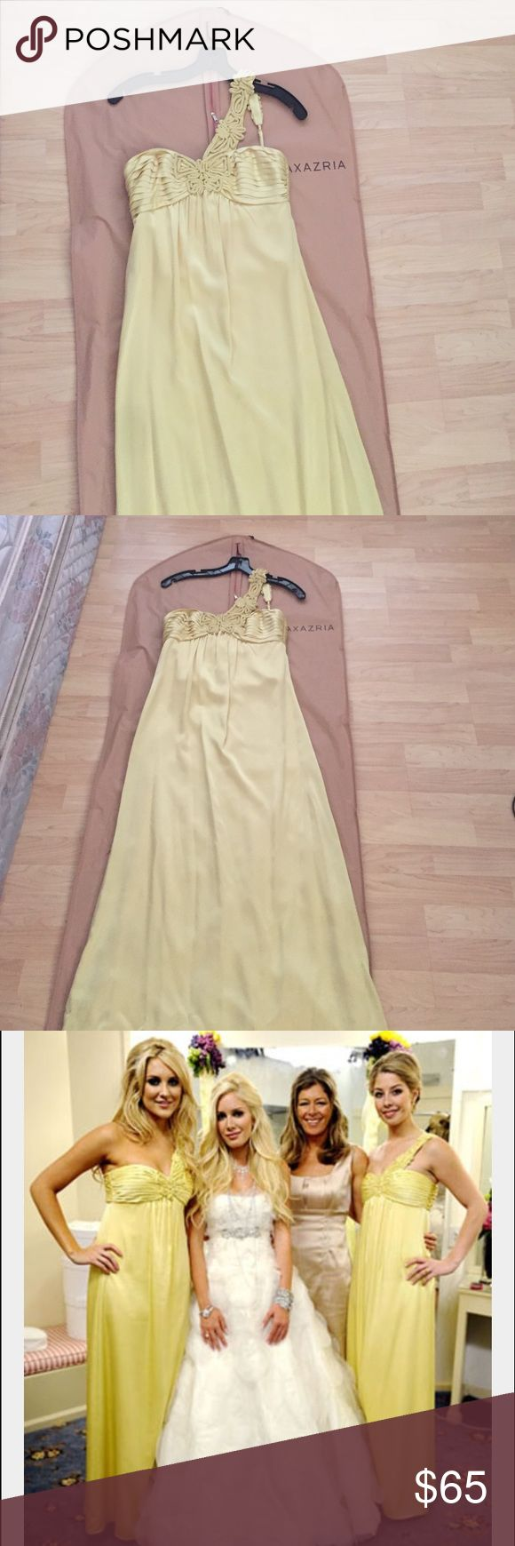 BCBGMaxAzria Gown Yellow gown. Used once as a prom dress. As seen on Heidi Montag's bridesmaids. Satin fabric with a pleated bust and sweetheart neckline. BCBGMaxAzria Dresses Wedding