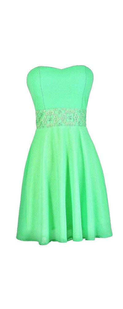 Playing Our Song Strapless Dress in Bright Green  www.lilyboutique.com