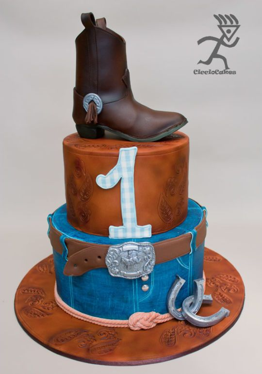 estern Cowboy Cake with Edible Cowboy Boot & 2 Tutorials
