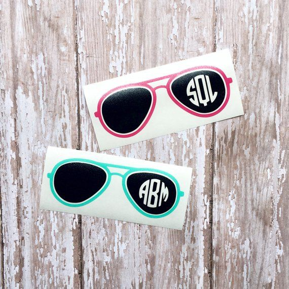 489ce34f743a Sunglasses Monogram Decal Aviator RayBan Summer Decal Sticker Car Decal  Sunny Shades Preppy Decal Ac