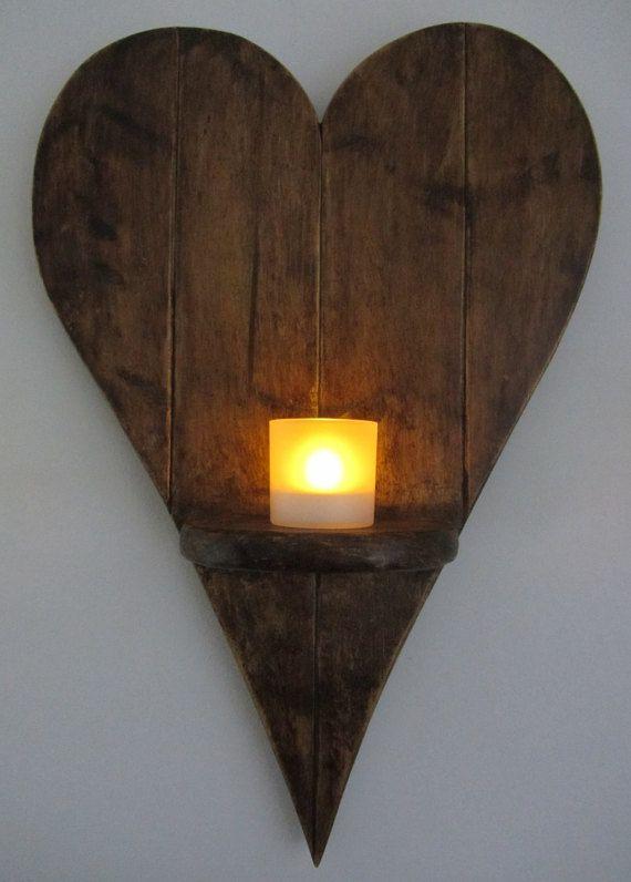 55 cm Herz geformt Wandleuchte Led Kerze Halter Reclaimed Palette Holz Wandleuchte