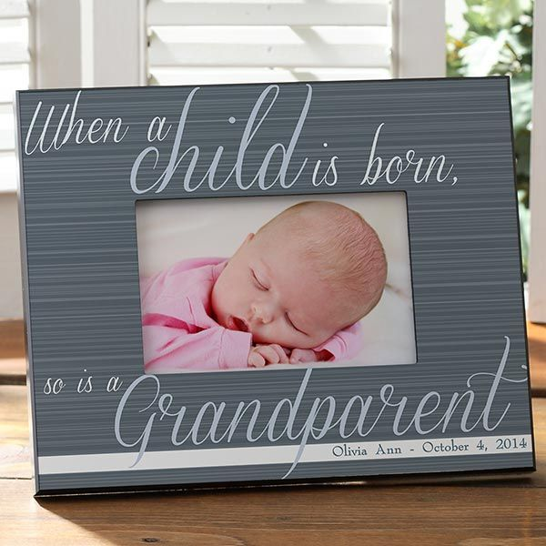 There's bound to be loads of pictures whenever a baby is born!  This is the perfect frame for the proud new Grandma to display a favorite photo in.  Personalize with the baby's name and birthdate. Available in 4 different colors.