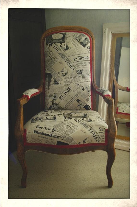 Voltaire armchair style, newsprint patterns, unique.