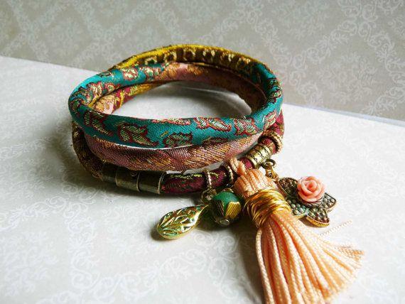 green and peach pure silk brocade wrap bracelet от ellivira
