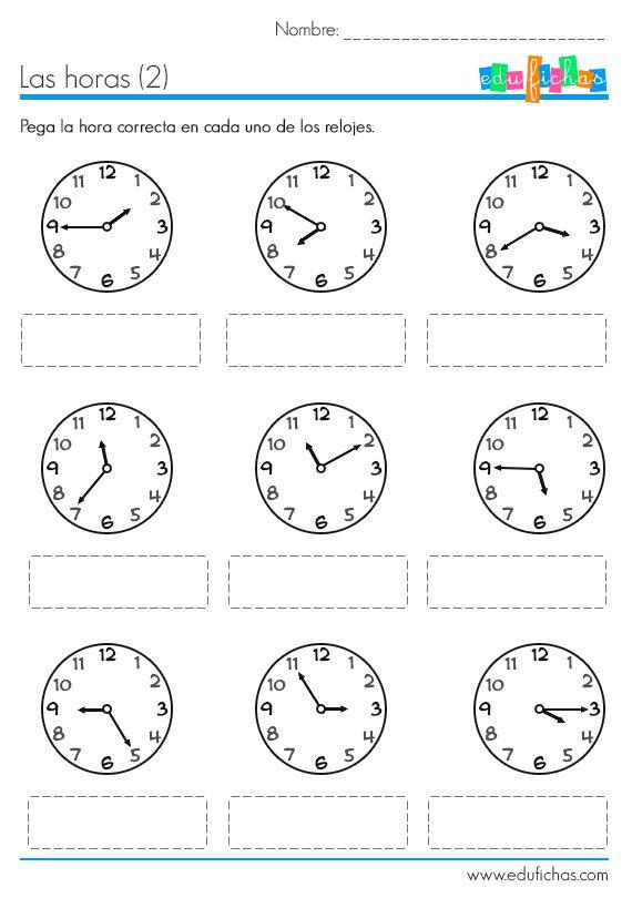 aprender las horas ficha