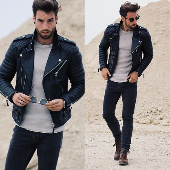 Belle tenue avec un perfecto matelassé noir #look #men #perfecto #fashion #fashionformen