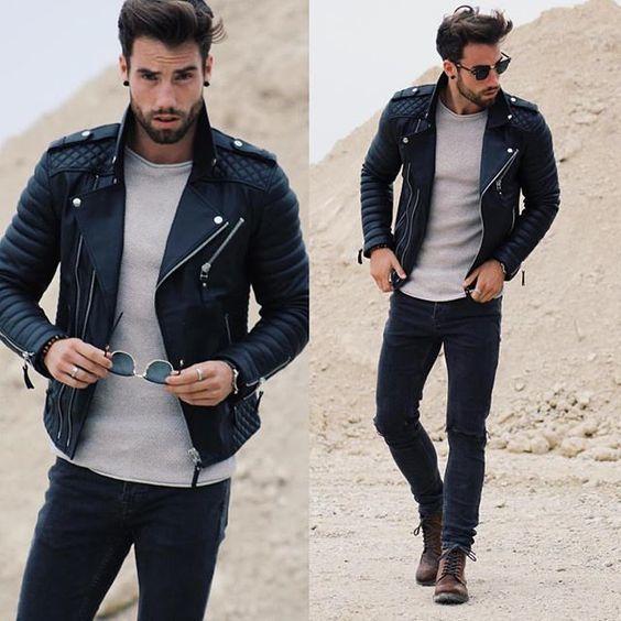 Belle tenue avec un perfecto matelassé noir #look #men #perfecto #fashion #fashionformen
