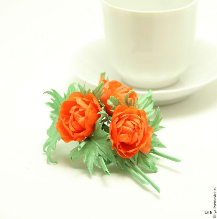 "Купить Цветы из шелка. Брошь ""Купальницы"" (Жарок) - оранжевый, цветы из шелка, купальницы, жарки"