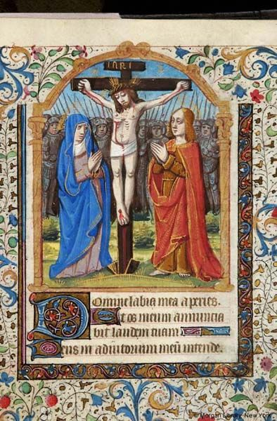 Book of Hours, MS M.117 fol. 55r - Images from Medieval and Renaissance Manuscripts - The Morgan Library & Museum   Christ: Crucifixion -- Virgin Mary, nimbed, veiled, and Evangelist John, nimbed, both with joined hands raised, flank Christ, with crossed rays as nimbus, wearing short loin cloth and crown of thorns, bleeding from wounds, affixed with three nails to cross with titulus inscribed INRI. In background stand many armored soldiers with spears. Miniature flanked by columns. Margins…
