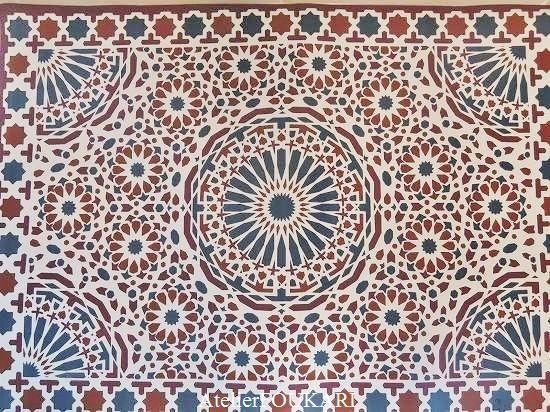 モザイク柄ハンマムマット・オータム - モロッコ雑貨とモロッコファッション|Atelier FOUKARI