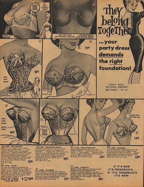 Vintage bra advertisement. Check out that backless number in the bottom right