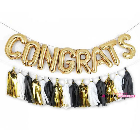 Cheap Ballons & Accessories, Buy Directly from China Suppliers:1 set Printed golden congrats letter foil balloons paper tassel for party decor Graduat...